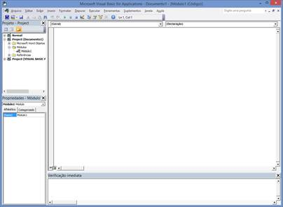 Editor do Visual Basic For Applications