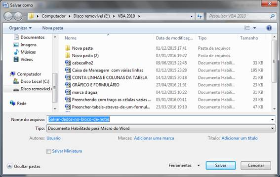 Salvar como Documento habilitado para macro do Word